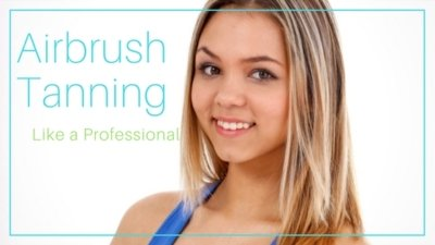Blonde tan girl with text that reads: Airbrush Tanning Like a Professional