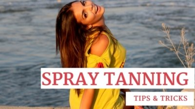 Tan Woman by a Lake with text that says spray tanning tips and tricks