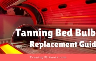 Tanning bed with text that says Tanning Bed Bulbs Replacement Guide